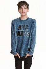 Printed sweatshirt - Dark blue washed out -  | H&M CN 1