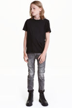 Skinny Fit Biker Jeans - Dark grey washed out - Kids | H&M CN 1