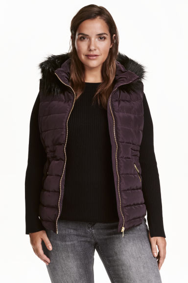 H&M+ Padded gilet - Plum - Ladies | H&M CN 1