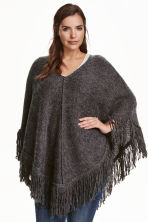 H&M+ V-neck poncho - Dark grey marl - Ladies | H&M CN 1