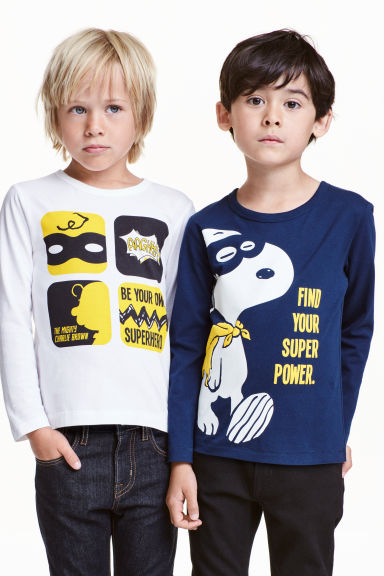 T-shirt maniche lunghe, 2 pz - Blu scuro/Snoopy - BAMBINO | H&M IT
