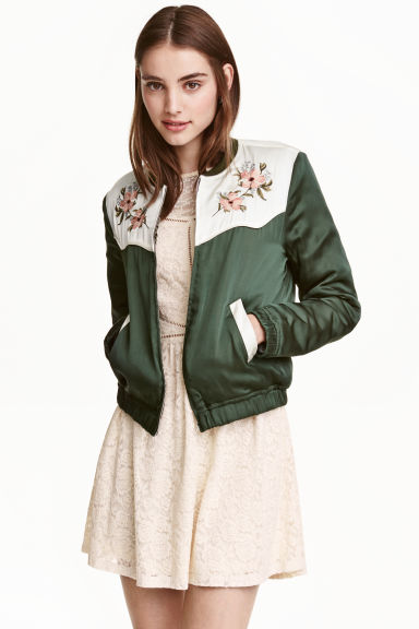 Embroidered bomber jacket - Green - Ladies | H&M GB 1