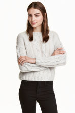 Cable-knit jumper - Light grey - Ladies | H&M CN 1