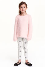 Sturdy jersey leggings - Light grey marl/Stars - Kids | H&M CN 1