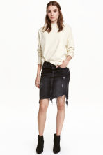 Denim skirt trashed - Black - Ladies | H&M CN 1