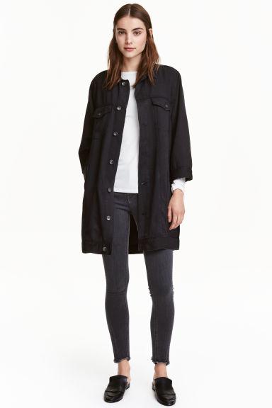 Long denim jacket - Dark denim blue - Ladies | H&M GB