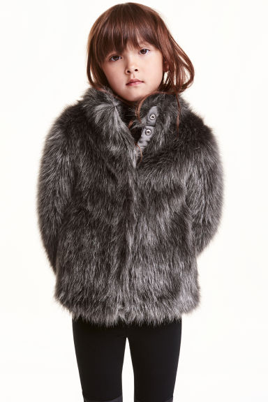 Faux fur jacket - Dark grey - Kids | H&M CN 1