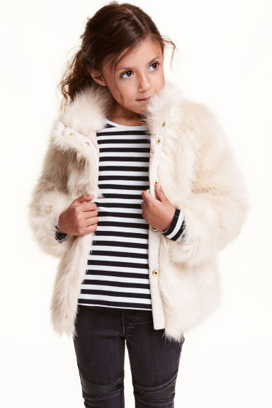 Faux fur jacket - Natural white - Kids | H&M CN 1