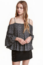 Off-the-shoulder blouse - Dark mole/Floral - Ladies | H&M CN 1