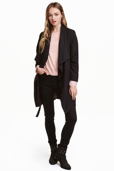 Draped coat - Black -  | H&M 1