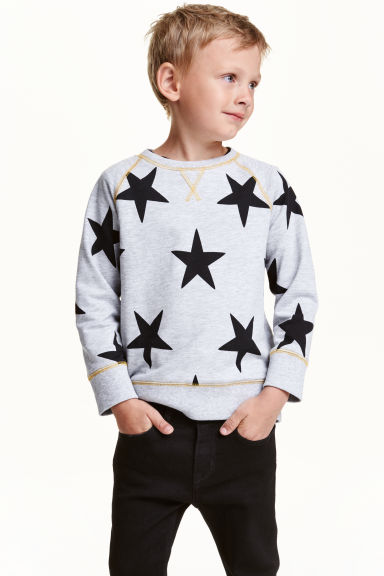 Sweatshirt - Light grey marl/Stars - Kids | H&M CN 1