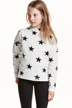 Marled hooded top - Light grey marl/Stars - Kids | H&M CN 1