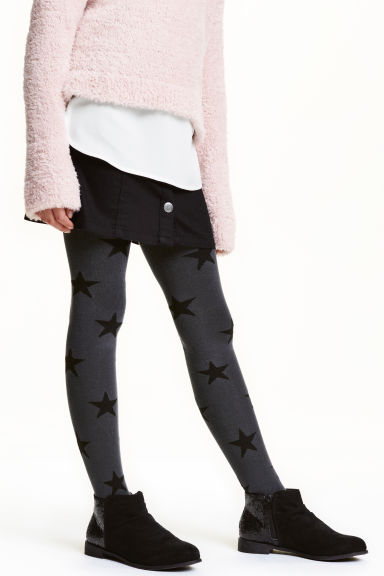 2-pack tights - Dark grey/Stars - Kids | H&M CN 1