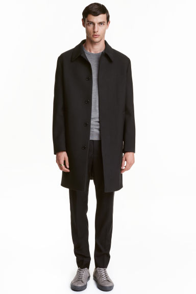 Wool-blend car coat - Black - Men | H&M CN