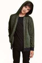 Hooded jacket - Dark green marl - Kids | H&M CN 1