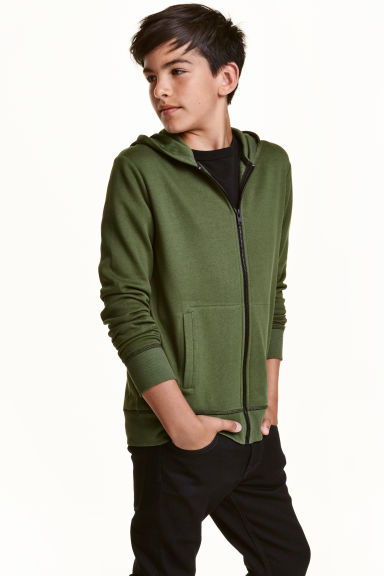 Hooded jacket - Green - Kids | H&M CA 1