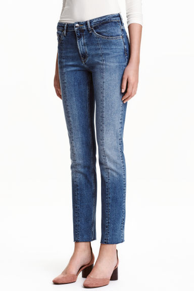 Straight Regular Ankle Jeans - Bleu denim/plis - FEMME | H&M BE 1