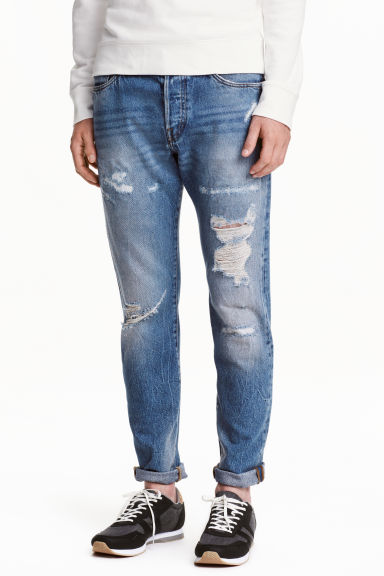 Slim Tapered Regular Jeans - Denim blue trashed - Men | H&M CN