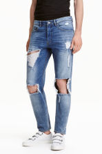 Skinny Regular Trashed Jeans - Bleu denim - HOMME | H&M FR 1