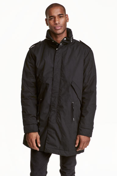 Coat with a concealed hood - Black - Men | H&M CN 1