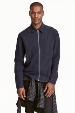 Linen-blend shirt jacket - Dark blue - Men | H&M CN 1