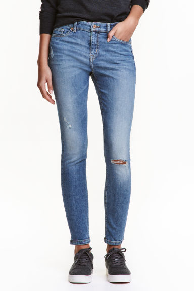 Skinny Regular Trashed Jeans - 牛仔蓝 - 女士 | H&M CN 1
