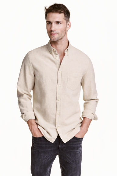 Shirt in a linen blend - Light beige - Men | H&M CN 1