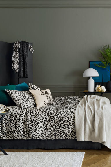 Leopard-print cushion cover - Natural white/Anthracite grey - Home All | H&M GB