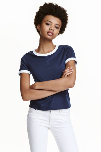 Short T-shirt - Dark blue - Ladies | H&M CN