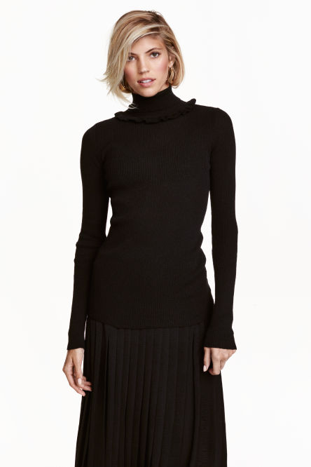 Frilled polo-neck jumper