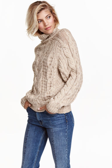 Cable-knit polo-neck jumper - Light beige marl - Ladies | H&M GB 1