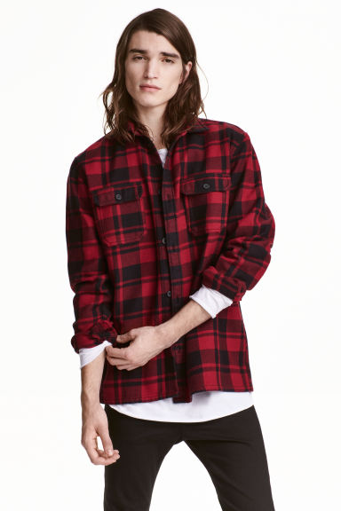Checked twill shirt - Dark red/Checked - Men | H&M CN 1