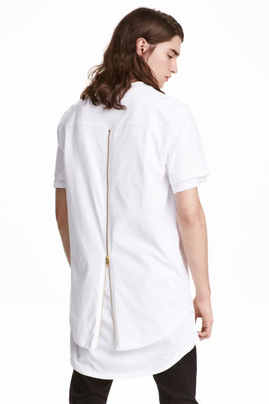 T-shirt with a zip - White - Men | H&M CN 1