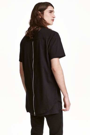 T-shirt with a zip - Black - Men | H&M CN 1