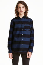 Twill shirt - Dark blue/Striped - Men | H&M CN 1