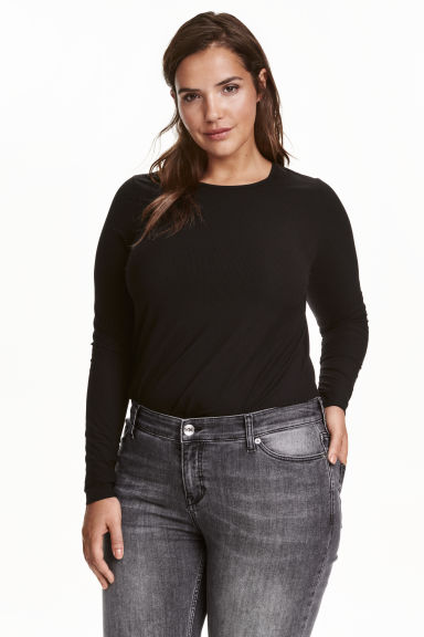 H&M+ Long-sleeved top - Black - Ladies | H&M GB 1
