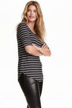 Jersey top - Dark grey/Striped - Ladies | H&M CA 1