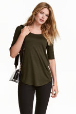 Jersey top - Khaki green marl - Ladies | H&M CN 1