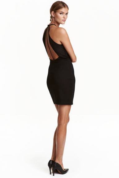 Fitted halterneck dress - Black -  | H&M CN 1