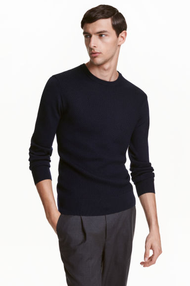 Merino wool jumper - Dark blue - Men | H&M CN 1
