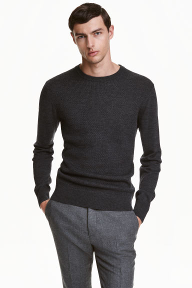 Merino wool jumper - Anthracite grey - Men | H&M CN 1