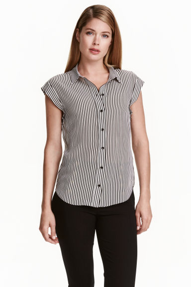 Silk blouse - Black/White/Striped - Ladies | H&M CN 1
