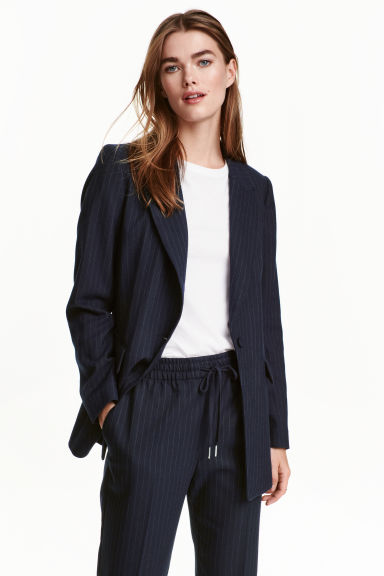 Blazer sciancrato - Blu scuro/righe - DONNA | H&M IT 1