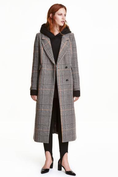 Long wool-blend coat - Grey/Dogtooth - Ladies | H&M GB