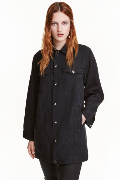 Oversized lyocell denim jacket - Dark grey - Ladies | H&M CN 1