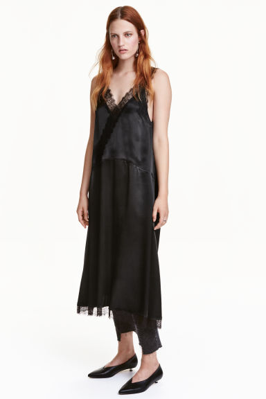 Satin dress with lace - Black - Ladies | H&M CN 1