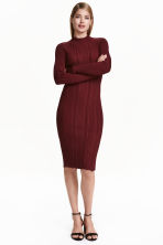 Ribbed dress - Burgundy - Ladies | H&M CN 1