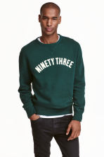 Printed sweatshirt - Dark green - Men | H&M CN 1