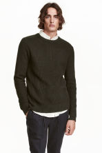 Pattern-knit jumper - Dark khaki green - Men | H&M CN 1