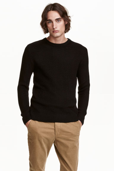 Pattern-knit jumper - Black - Men | H&M CN 1
